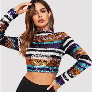 Tops - Sparkly sequin long sleeve top